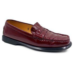 Tods Red Patent Leather Square Toe Penny Loafers